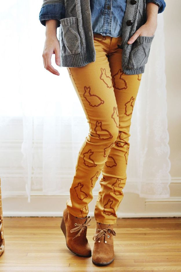 DIY Clothes for Fall - Animal Stencil Statement Pants - No Sew and Easy Designer Fashion Copycats - Tutorials for Making Your Own Clothing - Update Your Fall Wardrobe With These Cheap Shirts, Dresses, Skirts, Shoes, Scarves, Sweaters, Hats, Wraps, Coats and Bags - How To Dress For Success on A Budget - Free Sewing Tutorials for Beginners and Quick Fashion Upcycles for New Looks in 2018 http://diyjoy.com/diy-clothes-fall