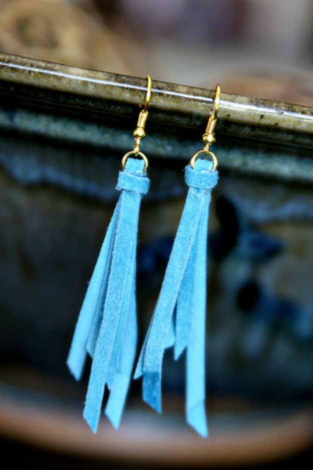 DIY Earrings - Anthro Knockoff Tassel Earrings - Easy Earring Projects for Studs, Dangle, Hoops, Tassel, Wire Wrap Beads and Handmade Cuff - Vintage, Boho, Beaded, Leather, Fabric andCrochet Ideas - Cheap Gifts for Her - Homemade Jewelry Tutorials With Step By Step Instructions