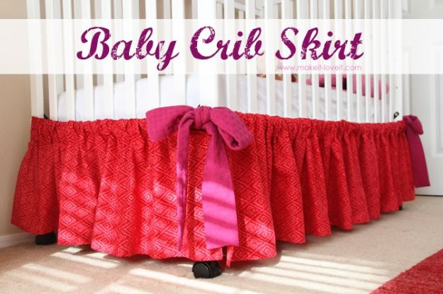 DIY Nursery Decor - Baby Crib Skirt - Easy Projects to Make for Baby Room - Decorations for Boy and Girl Rooms, Unisex, Minimalist and Modern Nurseries and Rustic, Farmhouse Style - All White, Pink, Blue, Yellow and Green - Cribs, Bedding, Wall Art and Hangings, Rocking Chairs, Pillows, Changing Tables, Storage and Bassinet for Baby http://diyjoy.com/diy-nursery-decor