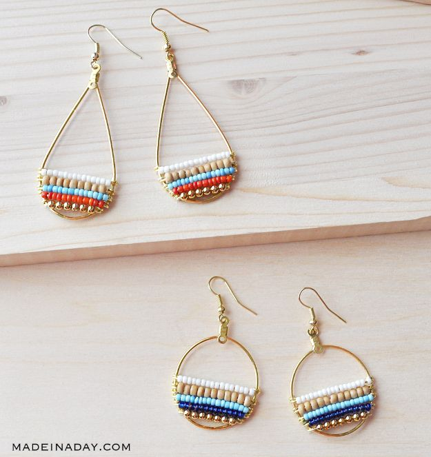 DIY Earrings - Beachy Boho Beaded Hoop Earrings - Easy Earring Projects for Studs, Dangle, Hoops, Tassel, Wire Wrap Beads and Handmade Cuff - Vintage, Boho, Beaded, Leather, Fabric andCrochet Ideas - Cheap Gifts for Her - Homemade Jewelry Tutorials With Step By Step Instructions