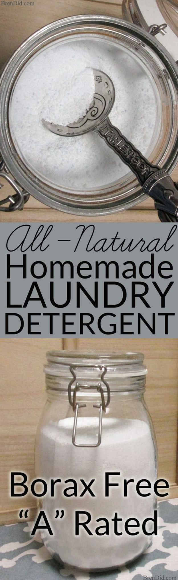Laundry Detergent Recipes - Borax Free Natural Homemade Laundry Detergent - DIY Detergents and Cleaning Recipe Tutorials for Homemade Inexpensive Cleaners You Can Make At Home - Scented Powder and Liquid for He Washer - Save Money With These Cheap Ideas - Natural Products With Essential Oils - Baby, Sensitive Skin Detergent Free Ideas http://diyjoy.com/diy-laundry-detergent-recipes