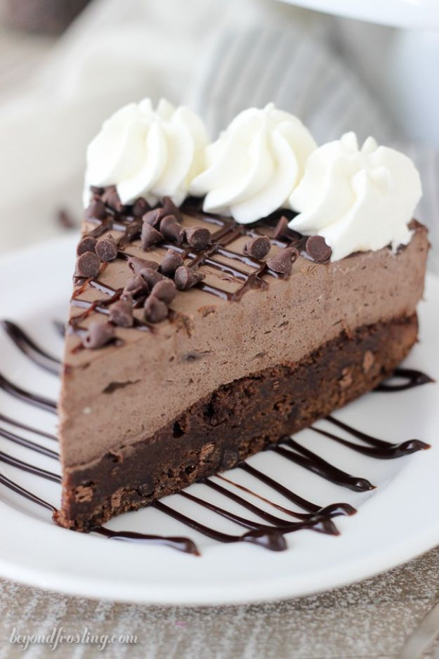 DIY Birthday Cakes - Brownie Bottom Chocolate Mousse Cake - How To Make A Birthday Cake With Step by Step Tutorial - Bake Homemade Cakes for Special Occasions and Birthdays With These Best Birthday Cake Recipes - Fancy Chocolate, Basic Vanilla Buttercream easy cakes recipes birthdays