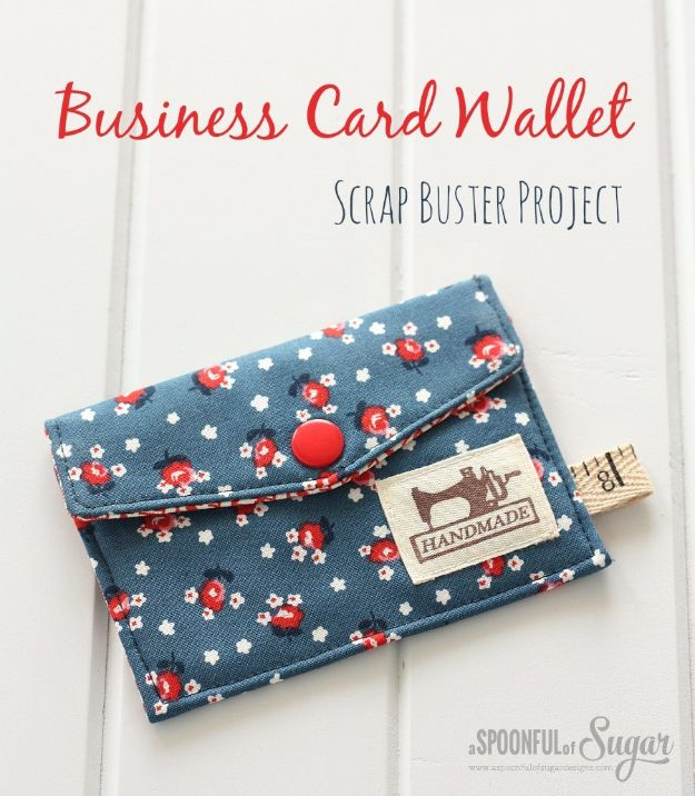Sewing Projects for Beginners - Business Card Wallet - Easy Sewing Project Ideas and Free Patterns for Basic Clothing, Kids Clothes, Quick Baby Gifts, DIY Bags, Sewing Crafts to Make and Sell on Etsy - Scarf Tutorial, Blankets, Stuffed Animals, Home Decor and Linens, Curtains and Bedding, Hand Sewn cute christmas gifts to sew