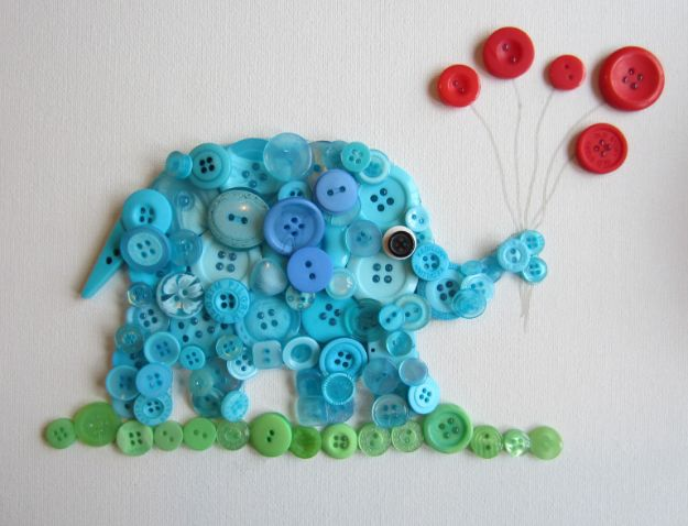 DIY Nursery Decor - Button Elephant - Easy Projects to Make for Baby Room - Decorations for Boy and Girl Rooms, Unisex, Minimalist and Modern Nurseries and Rustic, Farmhouse Style - All White, Pink, Blue, Yellow and Green - Cribs, Bedding, Wall Art and Hangings, Rocking Chairs, Pillows, Changing Tables, Storage and Bassinet for Baby http://diyjoy.com/diy-nursery-decor