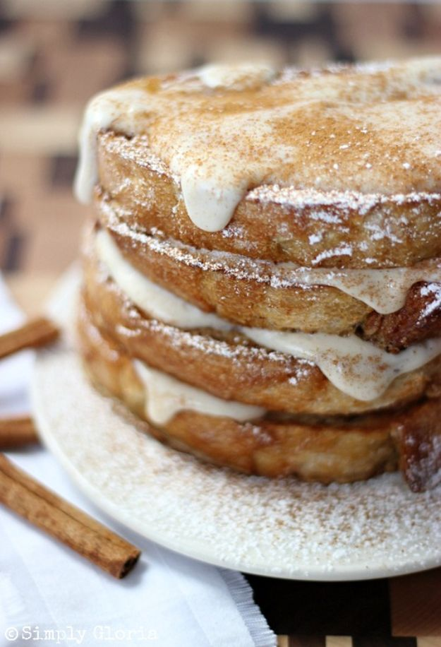 French Toast Recipes - Cinnamon French Toast with Cream Cheese Glaze - Best Brunch Bites and Breakfast Ideas for French Toast - Stuffed, Baked and Creme Brulee Toasts With Fruit - Healthy Sugar Free, Gluten Free and Keto Versions - Casserole Ideas for Parties and Feeding A Crowd, Sticks and Overnight Prep - How To Make French Toast Perfectly, Classic Powdered Sugar French Toast Recipe http://diyjoy.com/french-toast-recipes