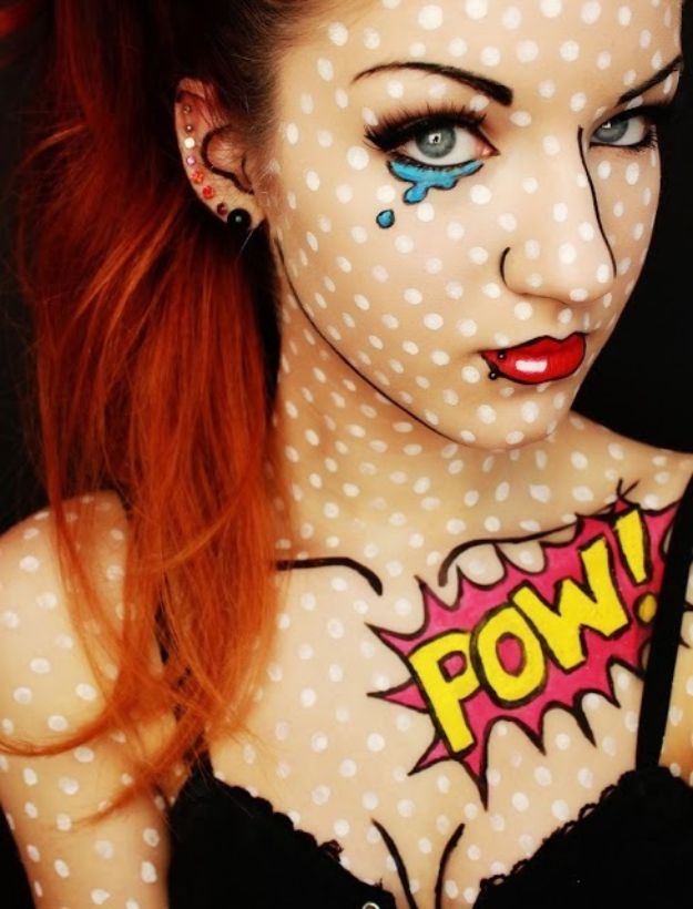 Best Halloween Makeup Tutorials - Comic Book Girl - Easy Makeup Tips and Tutorial Ideas for The Best Halloween Costume - Animals, Eyes, Creative Faces, Simple and Scary Ghosts, Skeletons and Creatures - Zombie Makeup, Cute Looks, DIY Vampire, Gypsy, Mermaid and Creepy Sugar Skull, Cool Glam Looks for A Halloween Party and Instagram Photos - Ideas for Couples and Kids http://diyjoy.com/best-halloween-makeup-tutorials