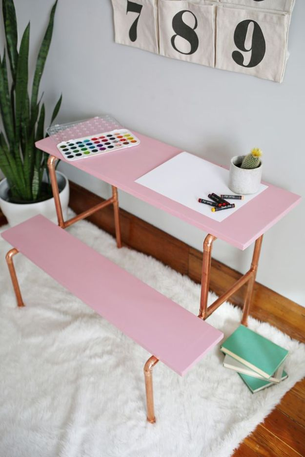 DIY Desks - Copper Pipe Child's Desk DIY - Easy To Make Do It Yourself Desk Projects With Step by Step tutorials - Rustic Wood Pallet, Farmhouse Style Furniture, Modern Design and Upcycling Makeover Project Plans - Standing Computer Desks, Ideas for Small Spaces and Home Office - Cheap Desks With Built In Organization, With Storage, With Hutch and Filing Cabinets DIY Desks - DIY Standing Desk Transformation - Easy To Make Do It Yourself Desk Projects With Step by Step tutorials - Rustic Wood Pallet, Farmhouse Style Furniture, Modern Design and Upcycling Makeover Project Plans - Standing Computer Desks, Ideas for Small Spaces and Home Office - Cheap Desks With Built In Organization, With Storage, With Hutch and Filing Cabinets