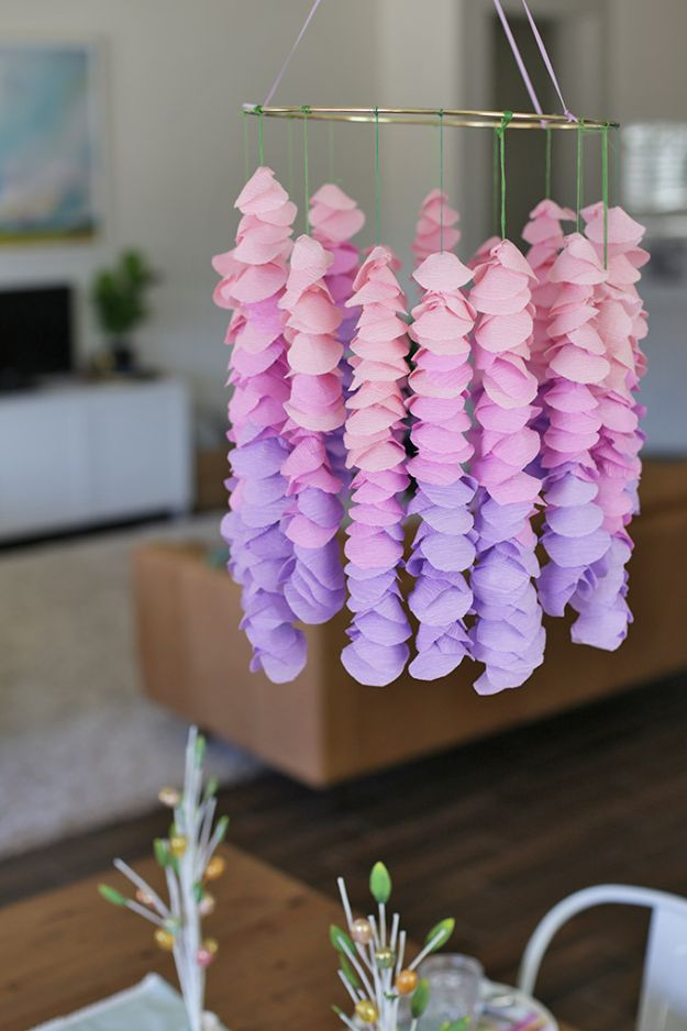 DIY Nursery Decor - Crepe Paper Wisteria - Easy Projects to Make for Baby Room - Decorations for Boy and Girl Rooms, Unisex, Minimalist and Modern Nurseries and Rustic, Farmhouse Style - All White, Pink, Blue, Yellow and Green - Cribs, Bedding, Wall Art and Hangings, Rocking Chairs, Pillows, Changing Tables, Storage and Bassinet for Baby http://diyjoy.com/diy-nursery-decor