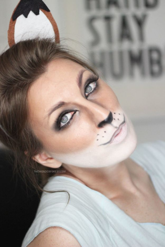 Best Halloween Makeup Tutorials - Cute Fox Makeup - Easy Makeup Tips and Tutorial Ideas for The Best Halloween Costume - Animals, Eyes, Creative Faces, Simple and Scary Ghosts, Skeletons and Creatures - Zombie Makeup, Cute Looks, DIY Vampire, Gypsy, Mermaid and Creepy Sugar Skull, Cool Glam Looks for A Halloween Party and Instagram Photos - Ideas for Couples and Kids http://diyjoy.com/best-halloween-makeup-tutorials