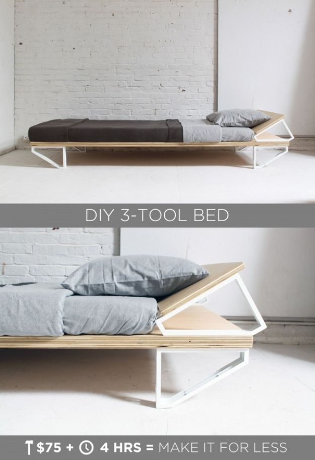 DIY Bed Frames - DIY 3-Tool Bed - How To Make a Headboard - Do It Yourself Projects for Platform Beds, Twin, King, Queen and Full Bed - Kids Rooms, Drawers and Storage Units, Bookshelf step by step tutorial free plans