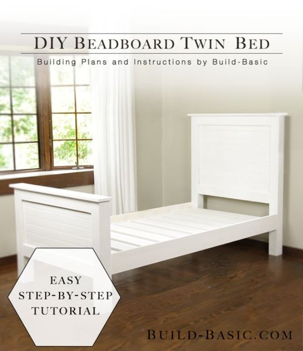 DIY Bed Frames - DIY Beadboard Twin Bed - How To Make a Headboard - Do It Yourself Projects for Platform Beds, Twin, King, Queen and Full Bed - Kids Rooms, Drawers and Storage Units, Bookshelf - Rustic, Farmhouse Style Furniture For Your Bedroom, Modern Decor, Cheap and Easy Ways to Make a Bed With Step by Step Tutorial and Free Plans http://diyjoy.com/diy-bed-frames