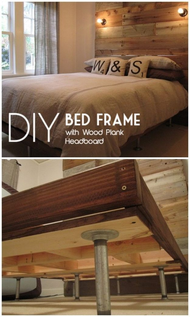 DIY Bed Frames - DIY Bed Frame with Giant Headboard - How To Make a Headboard - Do It Yourself Projects for Platform Beds, Twin, King, Queen and Full Bed - Kids Rooms, Drawers and Storage Units, Bookshelf step by step tutorial free plans