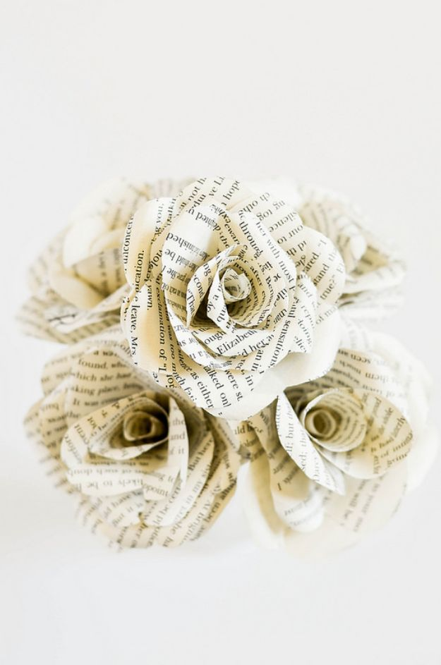 Dollar Tree Wedding Ideas - DIY Book Flowers - Cheap and Easy Dollar Store Crafts from Your Local Dollar Tree Store - Inexpensive Wedding Decor for the Bride on A Budget - Crafts and Centerpieces, Guest Book, Favors and Decorations You Can Make for Weddings - Pretty, Creative Flowers, Table Decor, Place Cards, Signs and Event Planning Idea