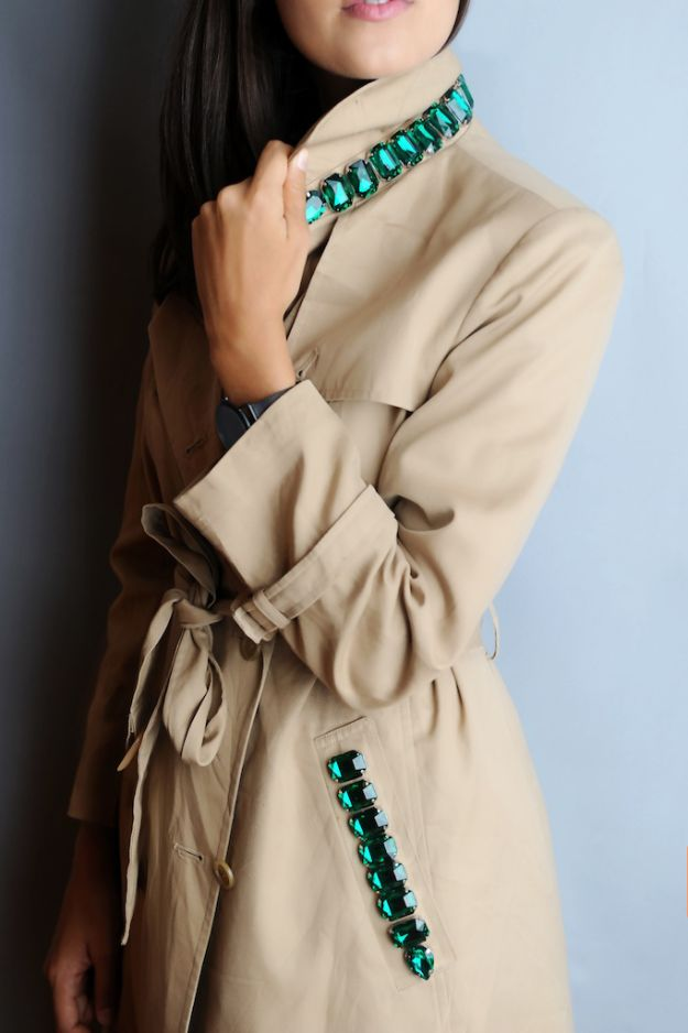 DIY Clothes for Fall - DIY Burberry Inspired Jeweled Trench - No Sew and Easy Designer Fashion Copycats - Tutorials for Making Your Own Clothing - Update Your Fall Wardrobe With These Cheap Shirts, Dresses, Skirts, Shoes, Scarves, Sweaters, Hats, Wraps, Coats and Bags - How To Dress For Success on A Budget - Free Sewing Tutorials for Beginners and Quick Fashion Upcycles for New Looks in 2018 http://diyjoy.com/diy-clothes-fall