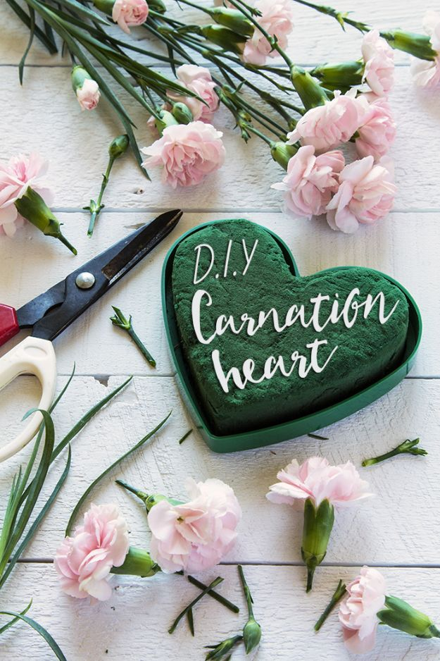 Dollar Tree Wedding Ideas - DIY Carnation Heart - Cheap and Easy Dollar Store Crafts from Your Local Dollar Tree Store - Inexpensive Wedding Decor for the Bride on A Budget - Crafts and Centerpieces, Guest Book, Favors and Decorations You Can Make for Weddings - Pretty, Creative Flowers, Table Decor, Place Cards, Signs and Event Planning Idea
