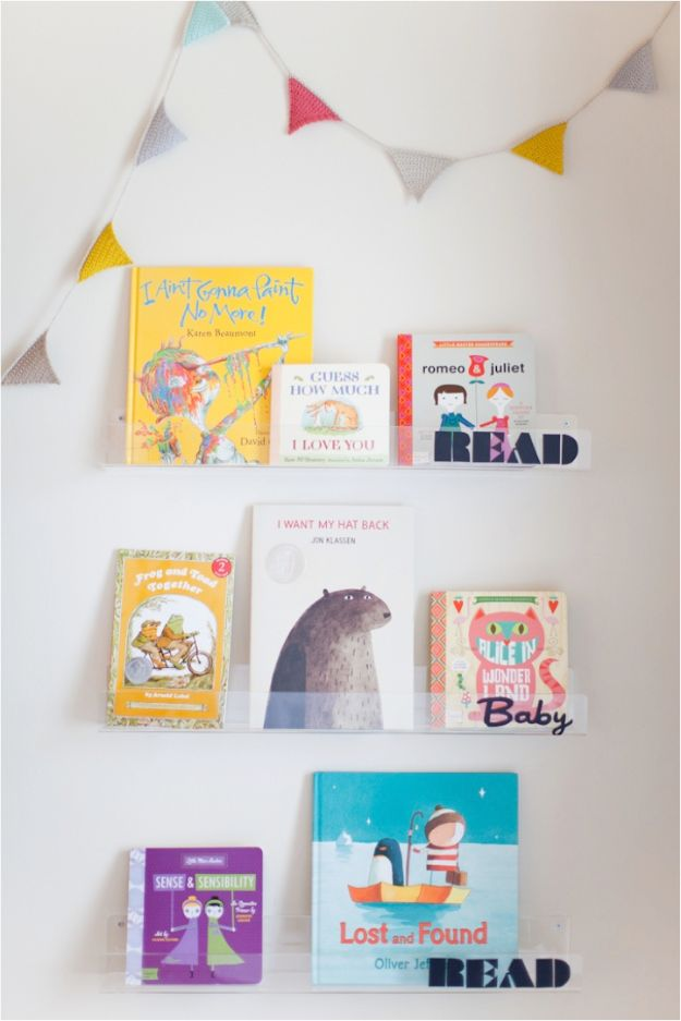 DIY Nursery Decor - DIY Clear Nursery Shelves - Easy Projects to Make for Baby Room - Decorations for Boy and Girl Rooms, Unisex, Minimalist and Modern Nurseries and Rustic, Farmhouse Style - All White, Pink, Blue, Yellow and Green - Cribs, Bedding, Wall Art and Hangings, Rocking Chairs, Pillows, Changing Tables, Storage and Bassinet for Baby http://diyjoy.com/diy-nursery-decor