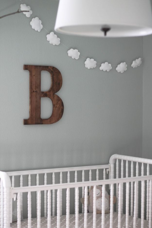 Creative DIY Nursery Decor - DIY Cloud Garland - Easy Projects to Make for Baby Room - Decorations for Boy and Girl Rooms, Unisex, Minimalist and Modern Nurseries and Rustic, Farmhouse Style - All White, Pink, Blue, Yellow and Green - Cribs, Bedding, Wall Art and Hangings, Rocking Chairs, Pillows, Changing Tables, Storage and Bassinet for Baby #diybaby #babygifts #nurserydecor