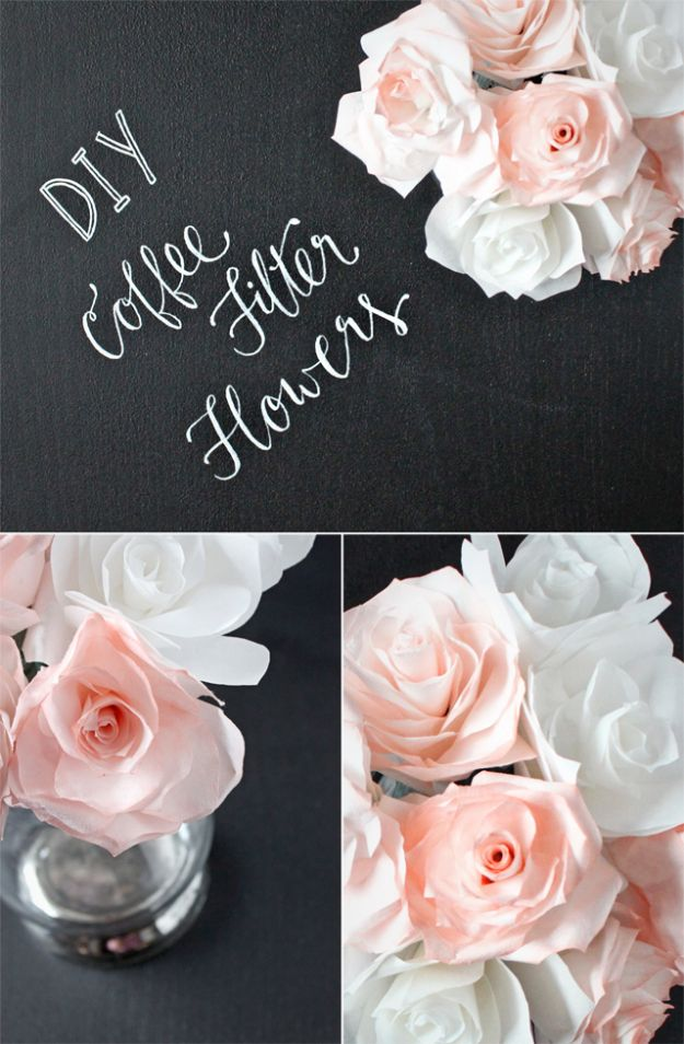 Dollar Tree Wedding Ideas - DIY Coffee Filter Flowers - Cheap and Easy Dollar Store Crafts from Your Local Dollar Tree Store - Inexpensive Wedding Decor for the Bride on A Budget - Crafts and Centerpieces, Guest Book, Favors and Decorations You Can Make for Weddings - Pretty, Creative Flowers, Table Decor, Place Cards, Signs and Event Planning Idea