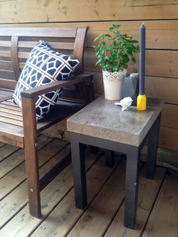 DIY Outdoor Furniture - DIY Concrete Side Table - Cheap and Easy Ideas for Patio and Porch Seating and Tables, Chairs, Sofas - How To Make Outdoor Furniture Projects on A Budget - Fmaily Friendly Decor Kids Love - Quick Projects to Make This Weekend - Swings, Pallet Tables, End Tables, Rocking Chairs, Daybeds and Benches http://diyjoy.com/diy-outdoor-furniture