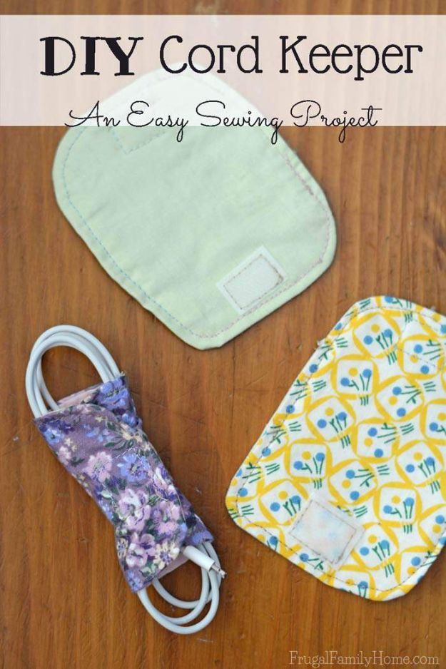 Sewing Projects for Beginners - DIY Cord Keeper - Easy Sewing Project Ideas and Free Patterns for Basic Clothing, Kids Clothes, Quick Baby Gifts, DIY Bags, Sewing Crafts to Make and Sell on Etsy - Scarf Tutorial, Blankets, Stuffed Animals, Home Decor and Linens, Curtains and Bedding, Hand Sewn cute christmas gifts to sew