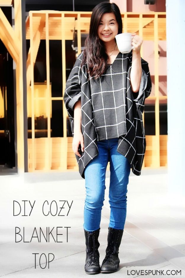 DIY Clothes for Fall - DIY Cozy Blanket Top - No Sew and Easy Designer Fashion Copycats - Tutorials for Making Your Own Clothing - Update Your Fall Wardrobe With These Cheap Shirts, Dresses, Skirts, Shoes, Scarves, Sweaters, Hats, Wraps, Coats and Bags - How To Dress For Success on A Budget - Free Sewing Tutorials for Beginners and Quick Fashion Upcycles for New Looks in 2020