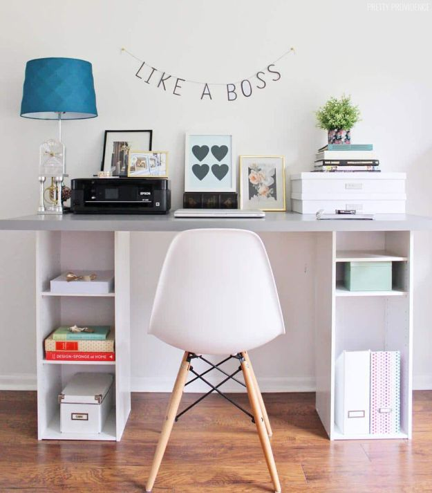 DIY Desks - DIY Desk Under $60 - Easy To Make Do It Yourself Desk Projects With Step by Step tutorials - Rustic Wood Pallet, Farmhouse Style Furniture, Modern Design and Upcycling Makeover Project Plans - Standing Computer Desks, Ideas for Small Spaces and Home Office - Cheap Desks With Built In Organization, With Storage, With Hutch and Filing Cabinets http://diyjoy.com/diy-desks