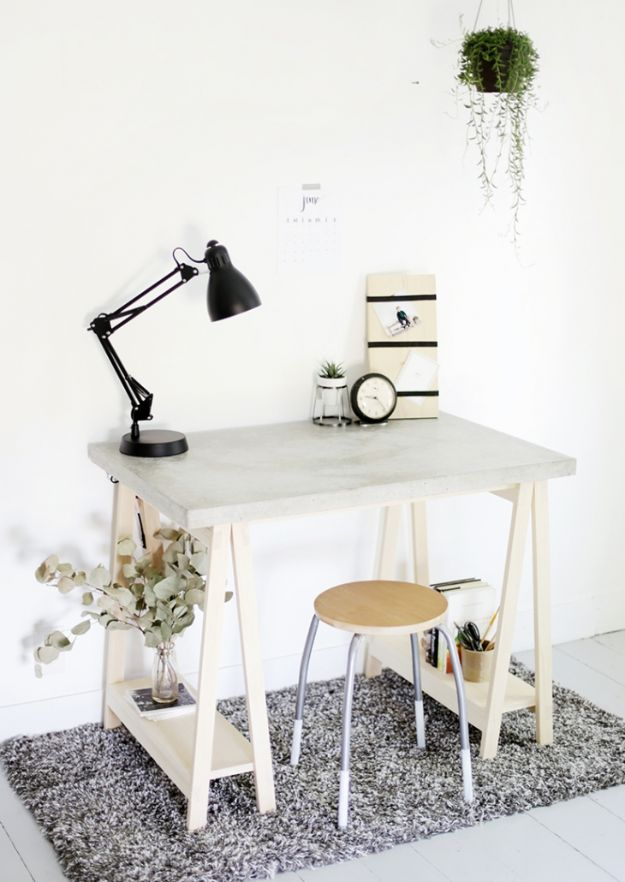DIY Desks - DIY Desk With Concrete Desktop and Wood Legs - Easy To Make Do It Yourself Desk Projects With Step by Step tutorials - Rustic Wood Pallet, Farmhouse Style Furniture, Modern Design and Upcycling Makeover Project Plans - Standing Computer Desks, Ideas for Small Spaces and Home Office - Cheap Desks With Built In Organization, With Storage, With Hutch and Filing Cabinets