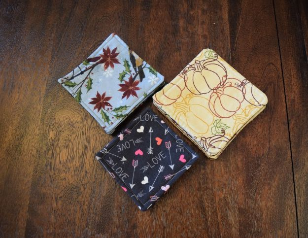 Sewing Projects for Beginners - DIY Easy Reversible Fabric Coasters - Easy Sewing Project Ideas and Free Patterns for Basic Clothing, Kids Clothes, Quick Baby Gifts, DIY Bags, Sewing Crafts to Make and Sell on Etsy - Scarf Tutorial, Blankets, Stuffed Animals, Home Decor and Linens, Curtains and Bedding, Hand Sewn cute christmas gifts to sew