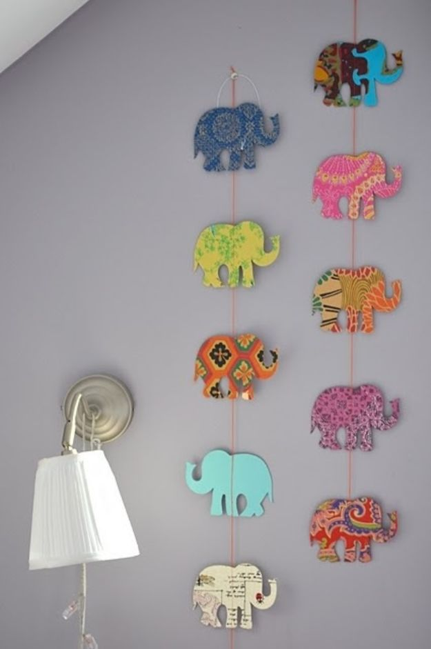 DIY Nursery Decor Ideas for Girls - DIY Elephant Garland - Cute Pink Room Decorations for Baby Girl - Crib Bedding, Changing Table, Organization Idea, Furniture and Easy Wall Art