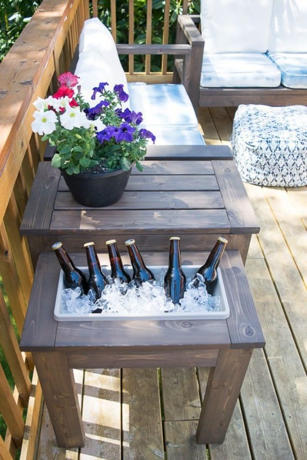 DIY Outdoor Furniture - DIY End Table with Built-In Planter or Ice Bucket - Cheap and Easy Ideas for Patio and Porch Seating and Tables, Chairs, Sofas - How To Make Outdoor Furniture Projects on A Budget - Fmaily Friendly Decor Kids Love - Quick Projects to Make This Weekend - Swings, Pallet Tables, End Tables, Rocking Chairs, Daybeds and Benches http://diyjoy.com/diy-outdoor-furniture