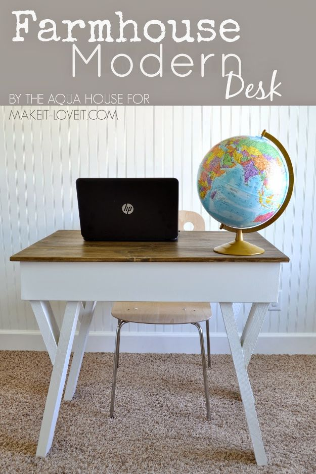 DIY Desks - DIY Farmhouse Modern Desk - Easy To Make Do It Yourself Desk Projects With Step by Step tutorials - Rustic Wood Pallet, Farmhouse Style Furniture, Modern Design and Upcycling Makeover Project Plans - Standing Computer Desks, Ideas for Small Spaces and Home Office - Cheap Desks With Built In Organization, With Storage, With Hutch and Filing Cabinets DIY Desks - DIY Standing Desk Transformation - Easy To Make Do It Yourself Desk Projects With Step by Step tutorials - Rustic Wood Pallet, Farmhouse Style Furniture, Modern Design and Upcycling Makeover Project Plans - Standing Computer Desks, Ideas for Small Spaces and Home Office - Cheap Desks With Built In Organization, With Storage, With Hutch and Filing Cabinets