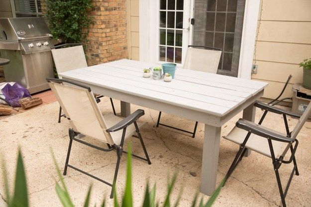 DIY Outdoor Furniture - DIY Farmhouse Patio Table - Cheap and Easy Ideas for Patio and Porch Seating and Tables, Chairs, Sofas - How To Make Outdoor Furniture Projects on A Budget - Fmaily Friendly Decor Kids Love - Quick Projects to Make This Weekend - Swings, Pallet Tables, End Tables, Rocking Chairs, Daybeds and Benches http://diyjoy.com/diy-outdoor-furniture