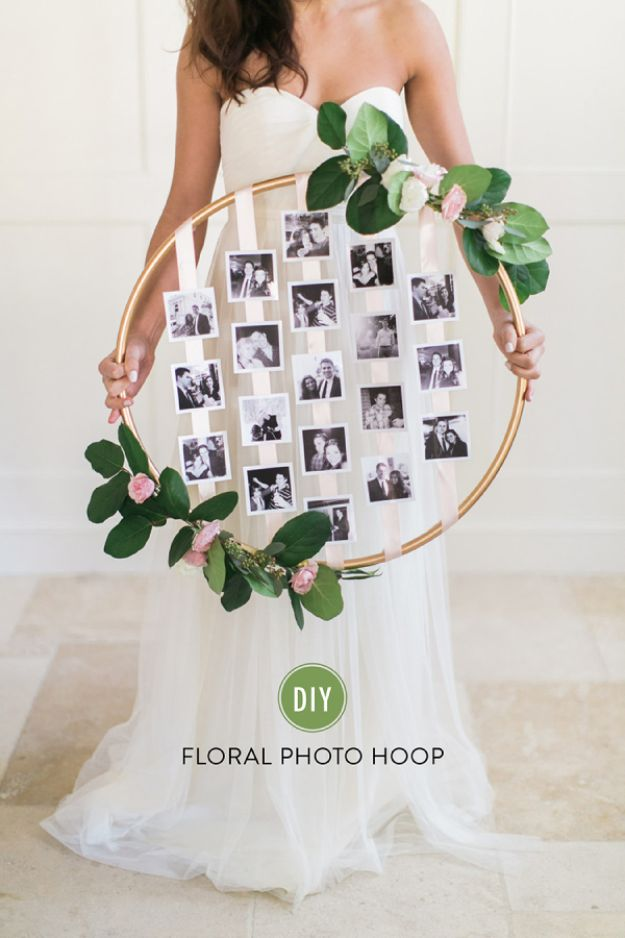 Dollar Tree Wedding Ideas - DIY Floral Photo Hoop - Cheap and Easy Dollar Store Crafts from Your Local Dollar Tree Store - Inexpensive Wedding Decor for the Bride on A Budget - Crafts and Centerpieces, Guest Book, Favors and Decorations You Can Make for Weddings - Pretty, Creative Flowers, Table Decor, Place Cards, Signs and Event Planning Idea