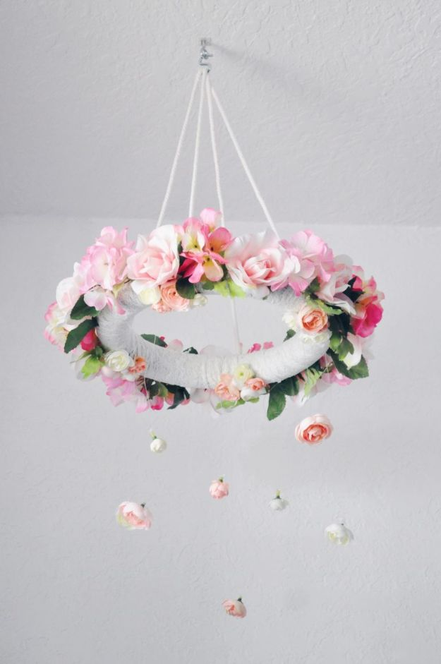 DIY Nursery Decor - DIY Flower Mobile - Easy Projects to Make for Baby Room - Decorations for Boy and Girl Rooms, Unisex, Minimalist and Modern Nurseries and Rustic, Farmhouse Style - All White, Pink, Blue, Yellow and Green - Cribs, Bedding, Wall Art and Hangings, Rocking Chairs, Pillows, Changing Tables, Storage and Bassinet for Baby http://diyjoy.com/diy-nursery-decor