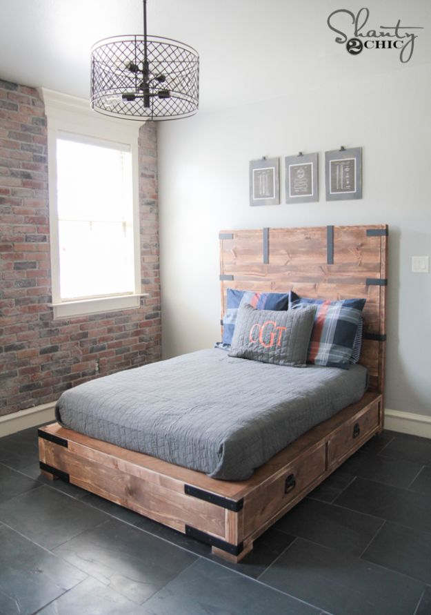 DIY Bed Frames - DIY Full or Queen Size Storage Bed - How To Make a Headboard - Do It Yourself Projects for Platform Beds, Twin, King, Queen and Full Bed - Kids Rooms, Drawers and Storage Units, Bookshelf - Rustic, Farmhouse Style Furniture For Your Bedroom, Modern Decor, Cheap and Easy Ways to Make a Bed With Step by Step Tutorial and Free Plans http://diyjoy.com/diy-bed-frames
