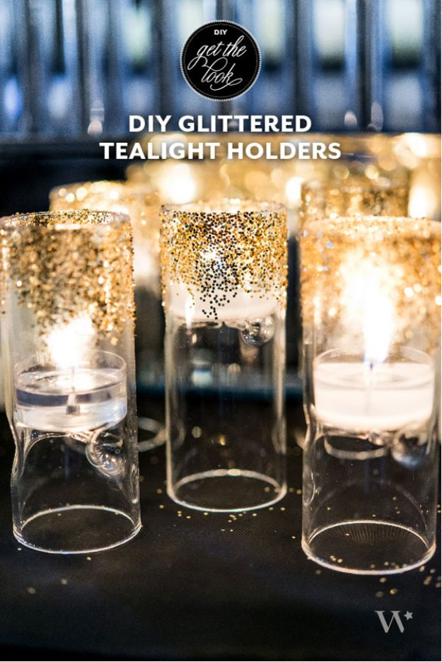 Dollar Tree Wedding Ideas - DIY Glittered Tealight Holders - Cheap and Easy Dollar Store Crafts from Your Local Dollar Tree Store - Inexpensive Wedding Decor for the Bride on A Budget - Crafts and Centerpieces, Guest Book, Favors and Decorations You Can Make for Weddings - Pretty, Creative Flowers, Table Decor, Place Cards, Signs and Event Planning Idea