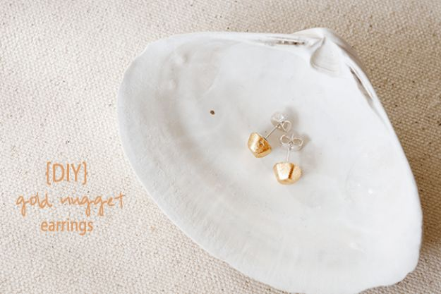 DIY Earrings - DIY Gold Nugget Earrings - Easy Earring Projects for Studs, Dangle, Hoops, Tassel, Wire Wrap Beads and Handmade Cuff - Vintage, Boho, Beaded, Leather, Fabric andCrochet Ideas - Cheap Gifts for Her - Homemade Jewelry Tutorials With Step By Step Instructions