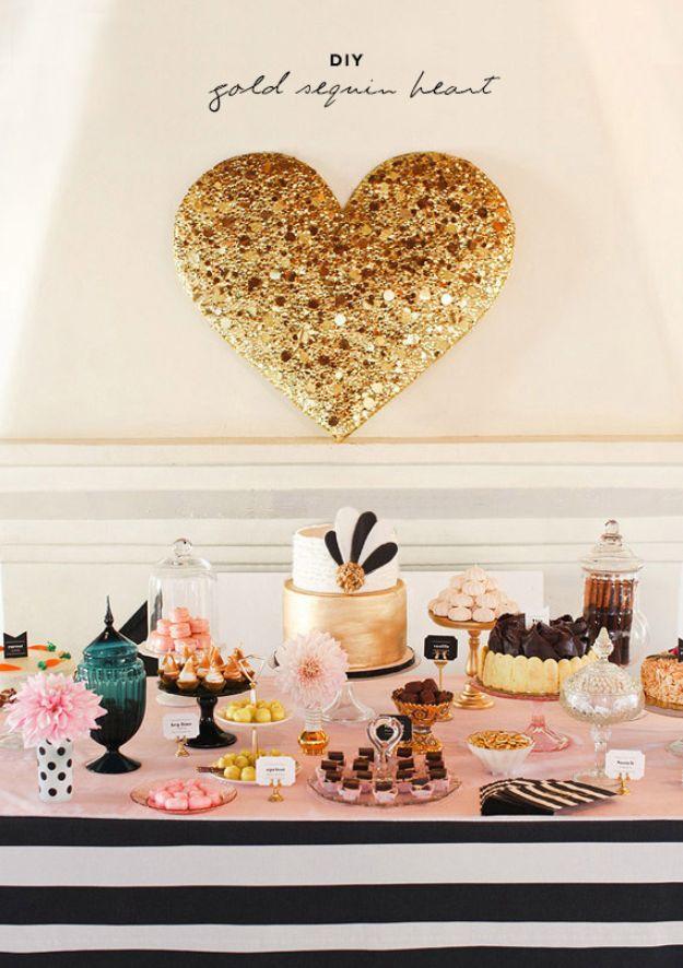 Dollar Tree DIY Wedding Decor Ideas - DIY Gold Sequin Heart - Cheap DIY Wedding Decorations - Creative Dollar Store DIY Wedding Centerpieces - Rustic and DIY Outdoor Wedding Ideas - Inexpensive Things to Make For Cool Wedding Photos