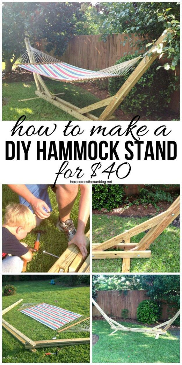 DIY Outdoor Furniture - DIY Hammock Stand - Cheap and Easy Ideas for Patio and Porch Seating and Tables, Chairs, Sofas - How To Make Outdoor Furniture Projects on A Budget - Fmaily Friendly Decor Kids Love - Quick Projects to Make This Weekend - Swings, Pallet Tables, End Tables, Rocking Chairs, Daybeds and Benches http://diyjoy.com/diy-outdoor-furniture