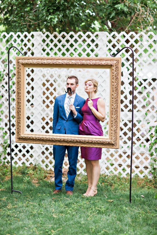 Dollar Tree Wedding Ideas - DIY Hanging Frame Wedding Photo Booth - Cheap and Easy Dollar Store Crafts from Your Local Dollar Tree Store - Inexpensive Wedding Decor for the Bride on A Budget - Crafts and Centerpieces, Guest Book, Favors and Decorations You Can Make for Weddings - Pretty, Creative Flowers, Table Decor, Place Cards, Signs and Event Planning Idea