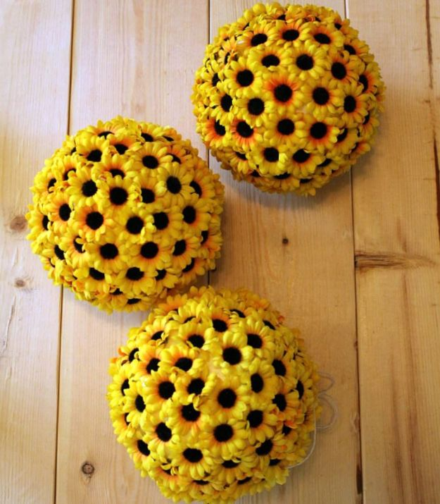 Dollar Tree Wedding Ideas - DIY Hanging Sunflower Balls - Cheap and Easy Dollar Store Crafts from Your Local Dollar Tree Store - Inexpensive Wedding Decor for the Bride on A Budget - Crafts and Centerpieces, Guest Book, Favors and Decorations You Can Make for Weddings - Pretty, Creative Flowers, Table Decor, Place Cards, Signs and Event Planning Idea