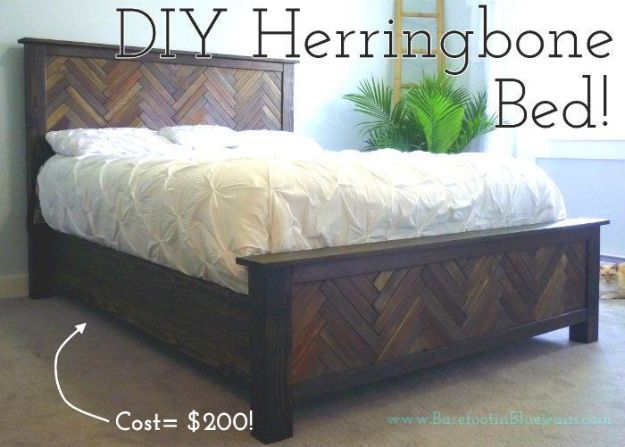 DIY Bed Frames - DIY Herringbone Bed - How To Make a Headboard - Do It Yourself Projects for Platform Beds, Twin, King, Queen and Full Bed - Kids Rooms, Drawers and Storage Units, Bookshelf step by step tutorial free plans