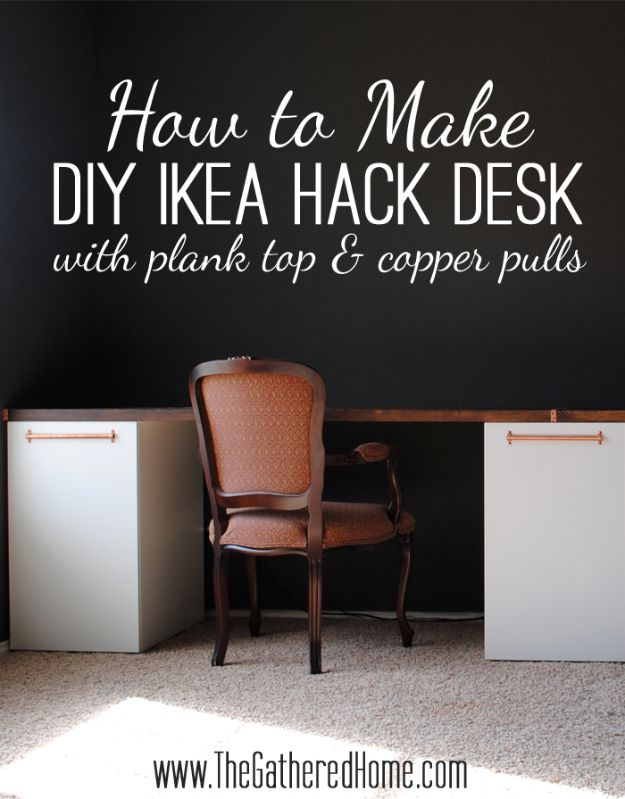 DIY Desks - DIY Ikea Hack Desk with Plank Top & Copper Pulls - Easy To Make Do It Yourself Desk Projects With Step by Step tutorials - Rustic Wood Pallet, Farmhouse Style Furniture, Modern Design and Upcycling Makeover Project Plans - Standing Computer Desks, Ideas for Small Spaces and Home Office - Cheap Desks With Built In Organization, With Storage, With Hutch and Filing Cabinets DIY Desks - DIY Standing Desk Transformation - Easy To Make Do It Yourself Desk Projects With Step by Step tutorials - Rustic Wood Pallet, Farmhouse Style Furniture, Modern Design and Upcycling Makeover Project Plans - Standing Computer Desks, Ideas for Small Spaces and Home Office - Cheap Desks With Built In Organization, With Storage, With Hutch and Filing Cabinets