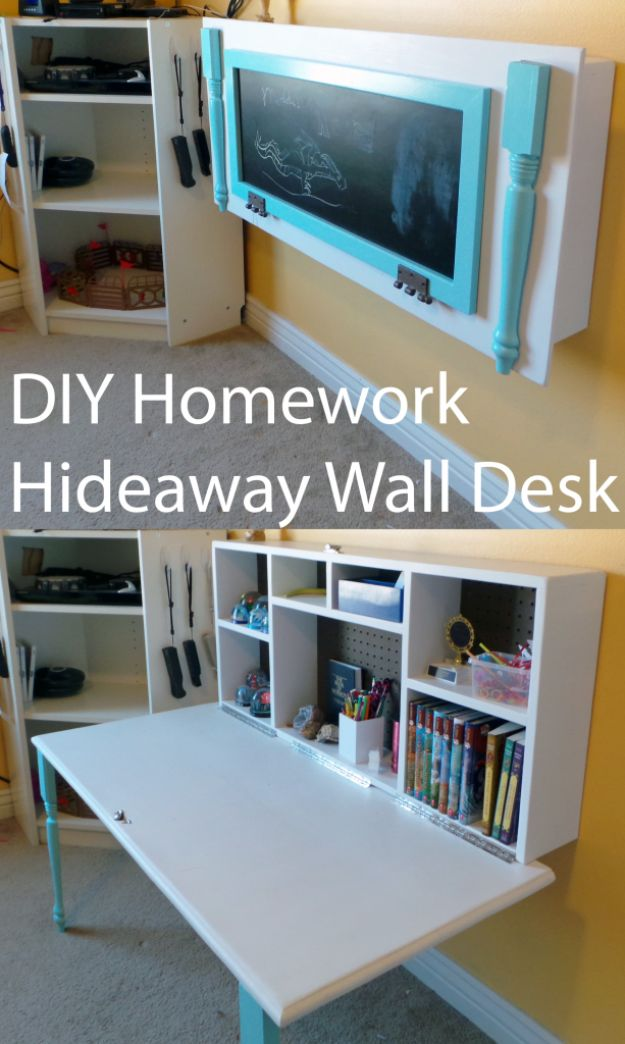 DIY Desks - DIY Kids Homework Hideaway Wall Desk - Easy To Make Do It Yourself Desk Projects With Step by Step tutorials - Rustic Wood Pallet, Farmhouse Style Furniture, Modern Design and Upcycling Makeover Project Plans - Standing Computer Desks, Ideas for Small Spaces and Home Office - Cheap Desks With Built In Organization, With Storage, With Hutch and Filing Cabinets http://diyjoy.com/diy-desks