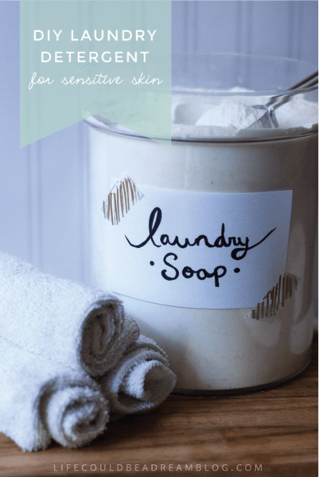 Laundry Detergent Recipes - DIY Laundry Detergent For Sensitive Skin - DIY Detergents and Cleaning Recipe Tutorials for Homemade Inexpensive Cleaners You Can Make At Home - Scented Powder and Liquid for He Washer - Save Money With These Cheap Ideas - Natural Products With Essential Oils - Baby, Sensitive Skin Detergent Free Ideas http://diyjoy.com/diy-laundry-detergent-recipes