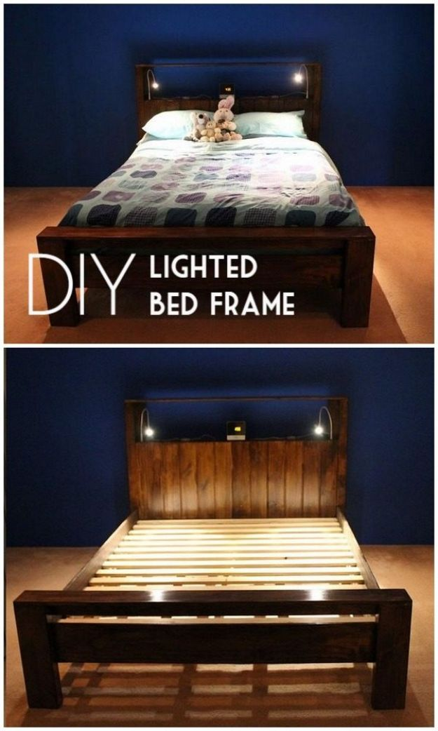 DIY Bed Frames - DIY Lighted Bed Frame - How To Make a Headboard - Do It Yourself Projects for Platform Beds, Twin, King, Queen and Full Bed - Kids Rooms, Drawers and Storage Units, Bookshelf step by step tutorial free plans