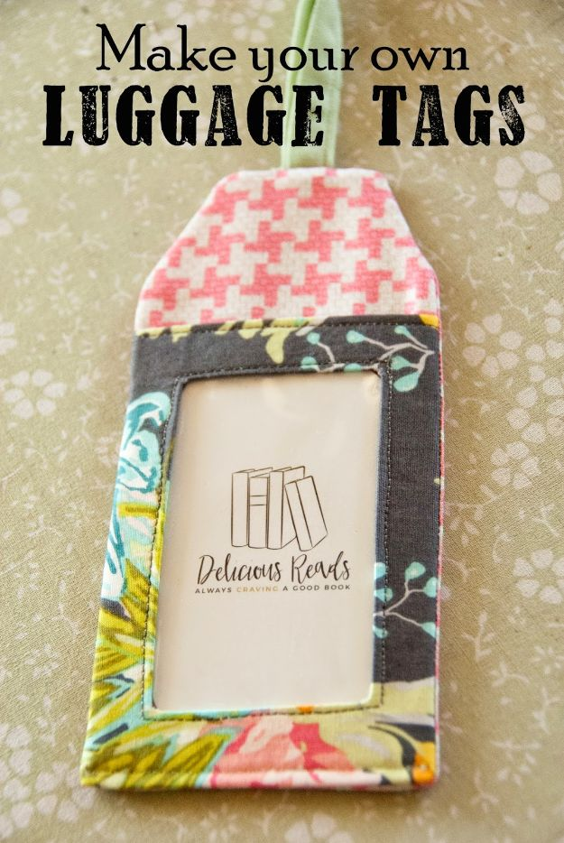 Sewing Projects for Beginners - DIY Luggage Tags - Easy Sewing Project Ideas and Free Patterns for Basic Clothing, Kids Clothes, Quick Baby Gifts, DIY Bags, Sewing Crafts to Make and Sell on Etsy - Scarf Tutorial, Blankets, Stuffed Animals, Home Decor and Linens, Curtains and Bedding, Hand Sewn cute christmas gifts to sew