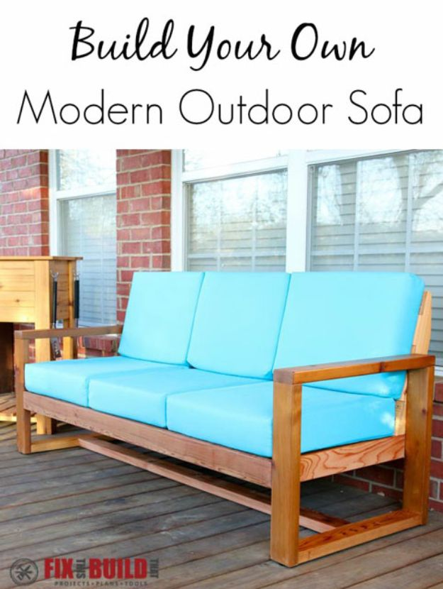 DIY Outdoor Furniture - DIY Modern Outdoor Sofa - Cheap and Easy Ideas for Patio and Porch Seating and Tables, Chairs, Sofas - How To Make Outdoor Furniture Projects on A Budget - Fmaily Friendly Decor Kids Love - Quick Projects to Make This Weekend - Swings, Pallet Tables, End Tables, Rocking Chairs, Daybeds and Benches http://diyjoy.com/diy-outdoor-furniture