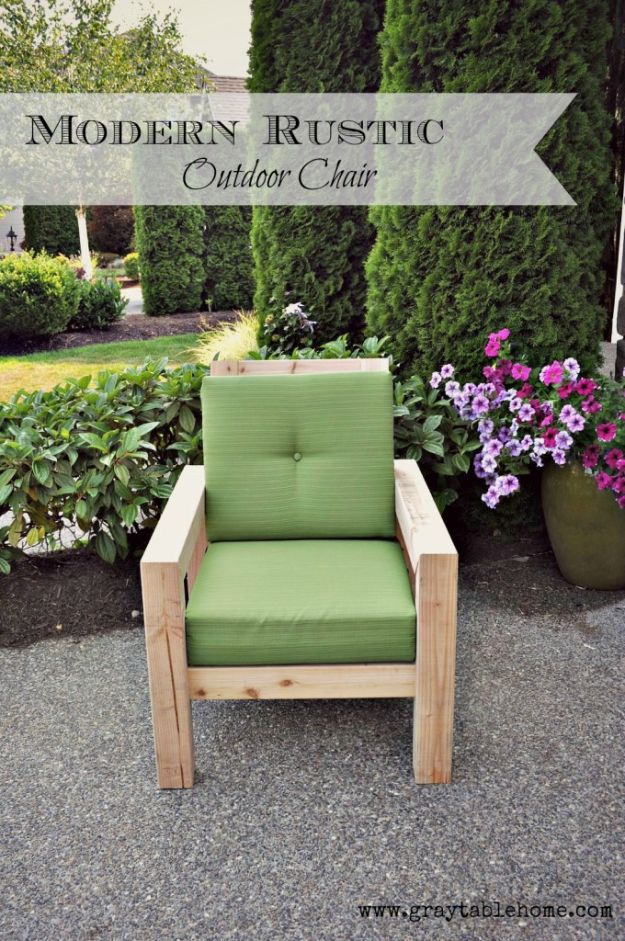 DIY Outdoor Furniture - DIY Modern Rustic Outdoor Chair - Cheap and Easy Ideas for Patio and Porch Seating and Tables, Chairs, Sofas - How To Make Outdoor Furniture Projects on A Budget - Fmaily Friendly Decor Kids Love - Quick Projects to Make This Weekend - Swings, Pallet Tables, End Tables, Rocking Chairs, Daybeds and Benches http://diyjoy.com/diy-outdoor-furniture