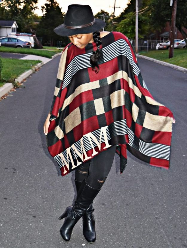 DIY Clothes for Fall - DIY Monogrammed Poncho - No Sew and Easy Designer Fashion Copycats - Tutorials for Making Your Own Clothing - Update Your Fall Wardrobe With These Cheap Shirts, Dresses, Skirts, Shoes, Scarves, Sweaters, Hats, Wraps, Coats and Bags - How To Dress For Success on A Budget - Free Sewing Tutorials for Beginners and Quick Fashion Upcycles for New Looks in 2018 http://diyjoy.com/diy-clothes-fall